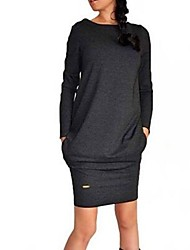 Women's Solid Warm Loose Slim Dress , Casual Round Neck Long Sleeve