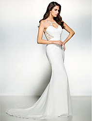 TS Couture Formal Evening Black Tie Gala Dress - Beautiful Back Trumpet / Mermaid Scoop Court Train Chiffon with Beading
