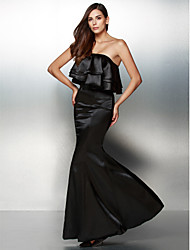 Formal Evening Dress - Black Trumpet/Mermaid Strapless Floor-length Charmeuse