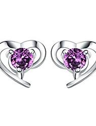 Lureme®  Korean Fashion Sweet 925  Sterling Silver Crystal Heart-Shaped Earrings