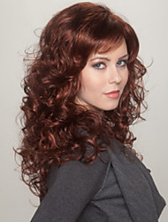 Women's Wig Brown Mix Blonde Long Curly Wig with Full Bang