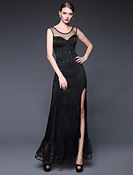 Formal Evening Dress - Daffodil / Ruby / Dark Navy / Ivory A-line Scoop Floor-length Lace / Jersey