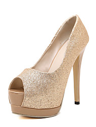 Women's Shoes Round Toe Stiletto Heel Pumps with Sparkling Glitter White / Gold / Champagne Shoes More Colors Available