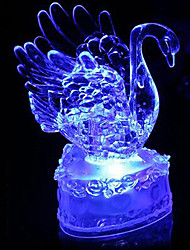 6 x 10 cm Weihnachts Schwan romantische bunte Kristall kleines Nachtlicht LED-Lampe 1pc