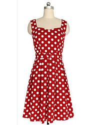 Women's Sexy Polka Dot Dress , U Neck Knee-length Cotton