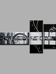 Ready to Hand Stretched Framed Hand-Painted Oil Painting Three Panels Canvas Wall Art Modern Black White Grey