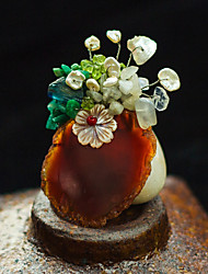 Women's Hand-made Brooch with Nature Fritillaria,Pearls and Agate
