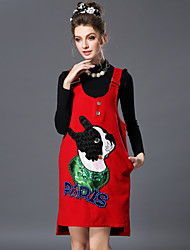 Women Winter Luxury Bead Embroidery Sequins Cute Dog Asymmetric Casual Vest Dress+Long Sleeve Blouse Two Piece Set