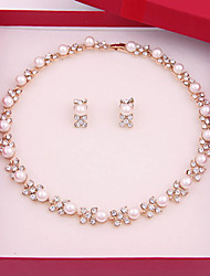 Simple and elegant imitation pearl necklace Earring Sets (necklace, earrings)