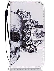 hzbyc®white motif de crâne cas PU carte des matériaux de lanière pour iPhone 5c