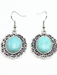 Vintage Look Antique Silver Plated Stone Oval Turquoise Alloy Dangle Drop Earring(1Pair)