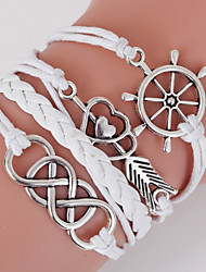 Retro Style Multilayer White Arrow Anchor Heart Love Weave Wrap Bracelet with Rivet