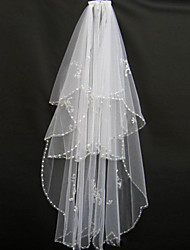 Wedding Veil Two-tier Blusher Veils / Fingertip Veils Beaded Edge Tulle White / Ivory