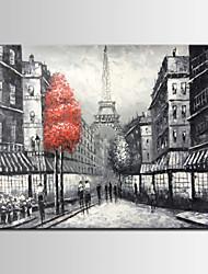 voir en noir et blanc d'arbres de rue de paris rouge peint à la main peinture à l'huile au couteau, 20x24inch, un panneau