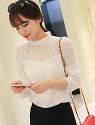 Women's New Arrival Solid Chiffon Shirt Fashion Base Shirt Stand Long Sleeve