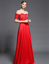 Formal Evening Dress Sheath/Column Bateau Floor-length Lace / Satin / Tulle / Charmeuse