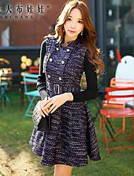 Women's Jacquard Purple Dress , Work Stand Sleeveless Sundress
