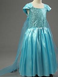 Vestido Chica deUn Color-Poliéster-Todas las Temporadas-Azul