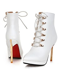 Women's Boots Spring Fall Winter Ankle Strap PU Wedding Casual Party & Evening Stiletto Heel Zipper Lace-up Black Red White Walking