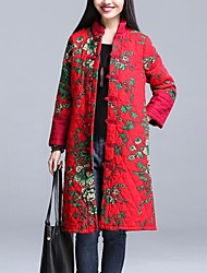 Large size     Women's Floral Multi-color Coats & Jackets , Casual / Party Round Long Sleeve