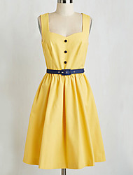 Women's Solid Yellow Dress , Vintage / Party Sweetheart Sleeveless