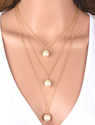 The three layer of Pearl Pendant Necklace