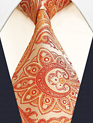 Men's Necktie Tie Paisley Orange 100% Silk Business Dress