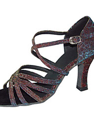 Non Customizable Women's Dance Shoes Latin / Swing/Salsa / Samba /Leatherette / Taffeta Chunky HeelBlack/ Brown / Silver