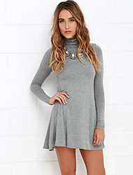 Spring New Sexy Leisure Fashion  Women Loose Comfortable High Neck Knit Dress