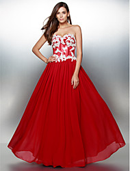 TS Couture Prom Formal Evening Dress - Color Block A-line Sweetheart Floor-length Chiffon with Appliques