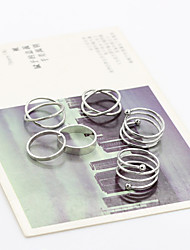 Circle V Shape Adjustable Ring Set Midi Rings(6pcs)