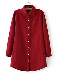 Chemise Aux femmes,Couleur Pleine Habillées simple Hiver Manches Longues Col de Chemise Rouge / Noir / Gris Coton / Acrylique Epais