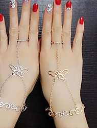 Lady's Fashion Hollow Out Inlay Diamond Butterfly Alloy Bracelets With Rings