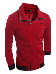 Men's Casual Slim Luxury Jacket , Cotton / Polyester Casual Pure