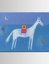 Hand-Painted Animal  White Horse  ,Cartoon Style ,Canvas  Oil Painting for Kids Room One Panel