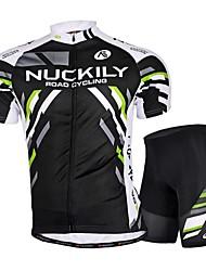 Nuckily Maillot et Cuissard de Cyclisme Homme Manches Courtes Vélo Maillot Cuissard / Short Shorts Rembourrés Ensemble de Vêtements