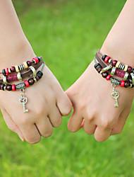 Men's Leather Weave Adjustable Bracelet with Key Pendant