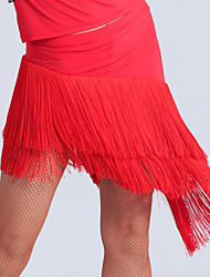 Imported Nylon Viscose with Tassel Latin Dance Skirts for Women's Performance (More Colors)
