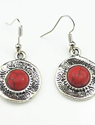 Vintage Look Antique Silver Alloy Round Turquoise Lava Tiger Stone Dangle Earring(1Pair)