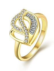 Fashion Elegant Women's  White Zircon Gold-Plated Brass Statement Rings(Golden,Rose Gold,)(1Pcs)