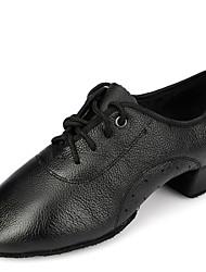 Latin Men's Dance Shoes Heels Breathable Leather Low Heel Black