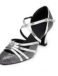 Non Customizable Women's Dance Shoes Latin Canvas / Sparkling Glitter Chunky Heel Gray