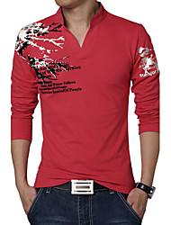 Camiseta De los hombres Estampado-Casual / Tallas Grandes-Algodón / Espándex-Manga Larga-Negro / Verde / Rojo / Blanco / Gris