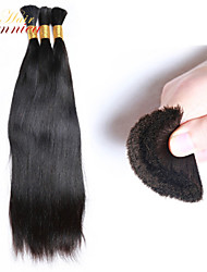 3pcs / lot # 1b cor natural barato 100% de extensão granel cabelo real cabelos lisos naturais malaio granel para trançar