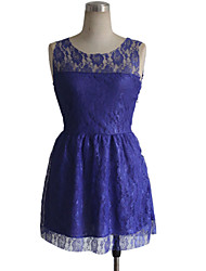 Women's Work A Line Dress,Solid Round Neck Above Knee Sleeveless Purple Polyester All Seasons