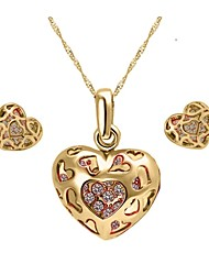 High Quality Crystal Zircon Heart Pendant Jewelry Set Necklace Earring (Assorted Color)