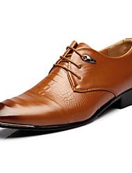 Для мужчин обувь Искусственное волокно Весна Осень Удобная обувь Светодиодные подошвы Формальная обувь Туфли на шнуровке Шнуровка