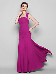 Mermaid / Trumpet Square Neck Floor Length Chiffon Bridesmaid Dress with Ruching by LAN TING BRIDE®