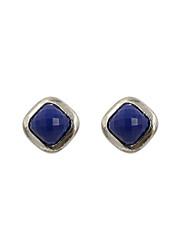 Fashion Women Faceted Stone Set Stud Earrings