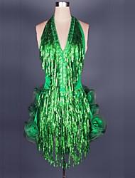 Latin Dance Dresses Women's Performance Chiffon Satin / Modal Pleated 1 Piece Fuchsia / Green / Red / Yellow